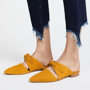 Jeffrey Campbell Charlin mustard suede bow slides